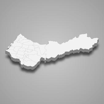 타이중 시의 3d 아이소메트릭 지도는 대만의 한 지역입니다.