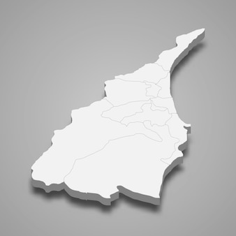 Yilan county의 3d 아이소메트릭 지도는 대만의 한 지역입니다.