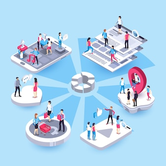 3d isometric marketing people