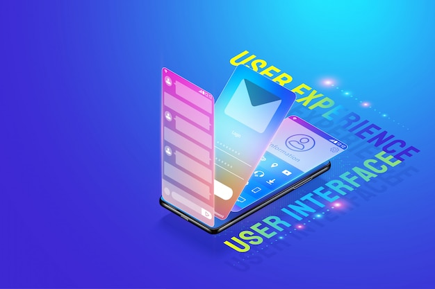 3d isometric mobile app ui ux design illustration, creating and design user interface, user experience and application development concept vector.