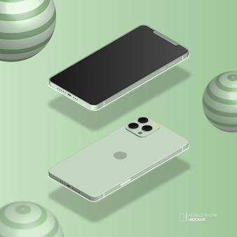 3dアイソメトリック携帯電話mockup