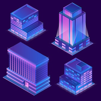 3d isometric modern buildings in cartoon style with neon illumination.