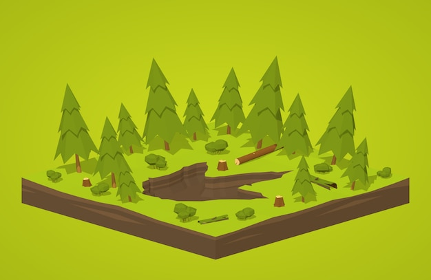 3d isometric monster footprint in the forest