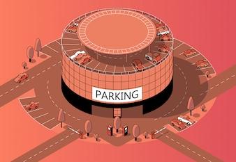 3d isometric multi-storey parking with territory