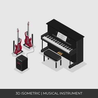 3d isometric musical instrument set