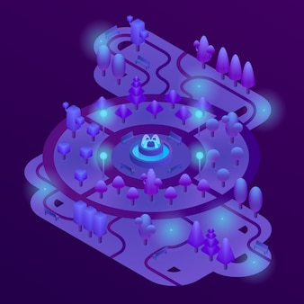 3d isometric park with purple plants, ultra violet trees, benches and fountain.