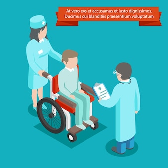 3d isometric patient on wheelchair with doctor staff. medicine and health, healthcare