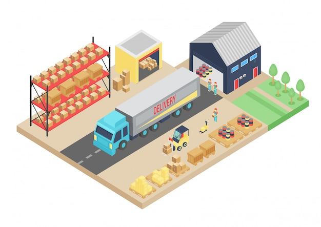 倉庫の3 dアイソメトリックプロセス。貨物保管の図。倉庫物流インテリア、建物、倉庫輸送輸送会社。