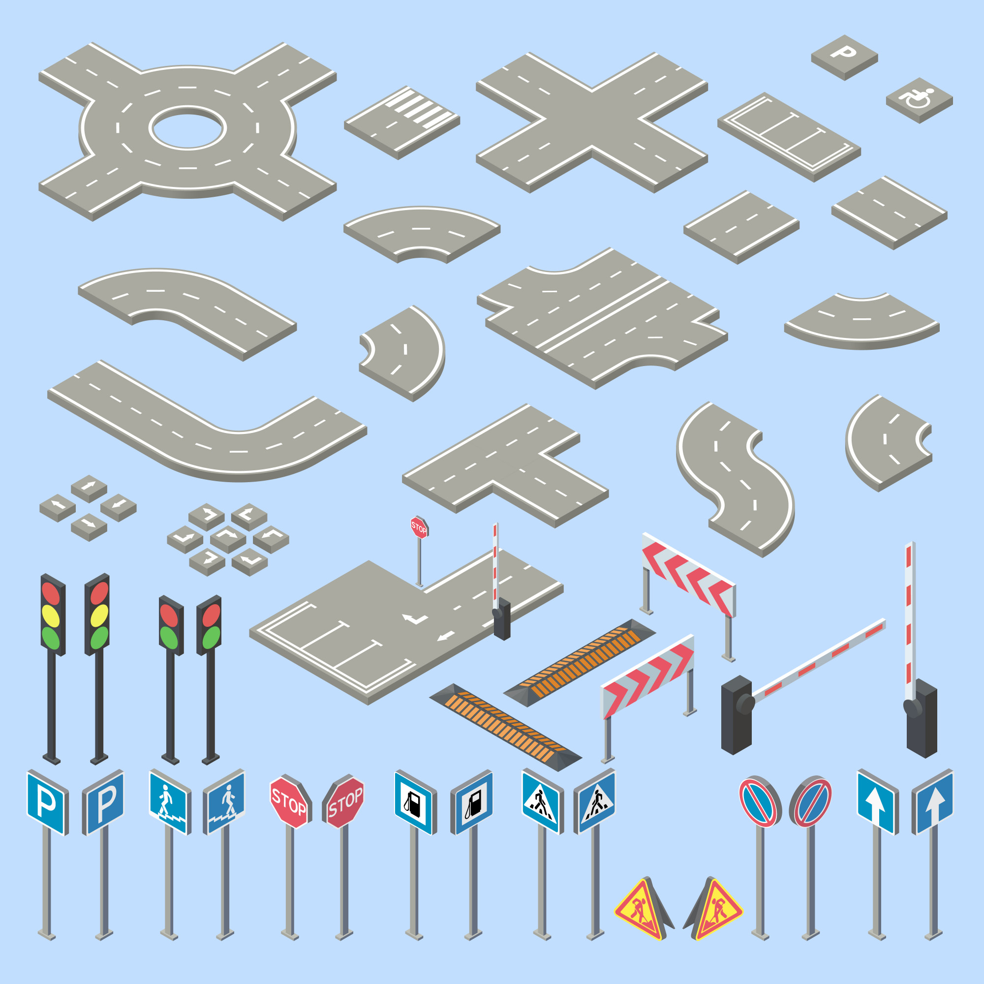 3d isometric road signs collection, pieces of street, highway