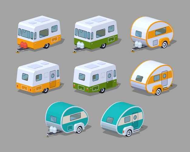 3d isometric rv campers collection