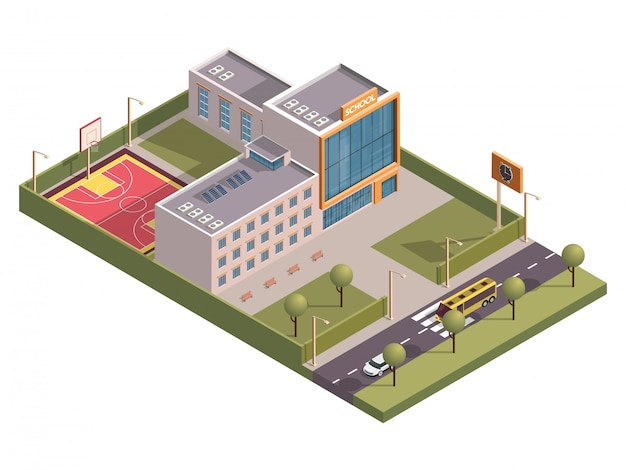 3d isometric of school building with clock board and basketball ground along vehicle street .