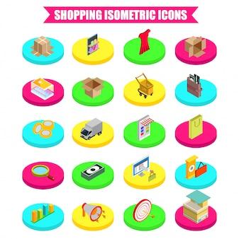 3d isometric shopping icon set.