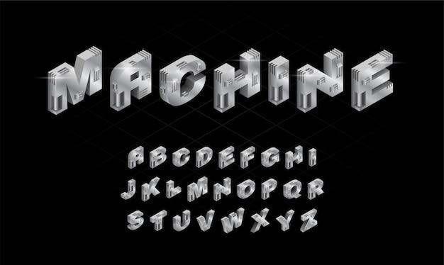 3d изометрическая серебряная машина алфавит