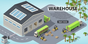 3d isometric site template - shipping, warehouse