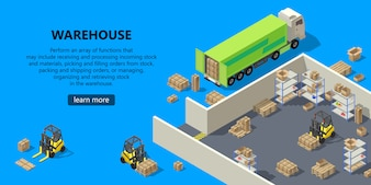 3d isometric site template - warehouse, shipping