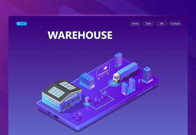 3d isometric site - warehouse with tracking
