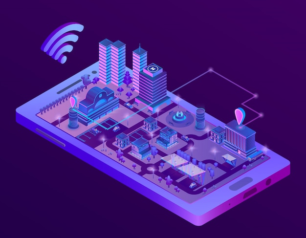 3d isometric smart city on smartphone screen, town map with navigation markers