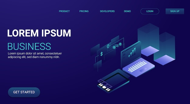 3d isometric technological landing page web with gradient style
