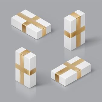 흰색 선물 상자와 골드 리본 3d 아이소 메트릭 템플릿
