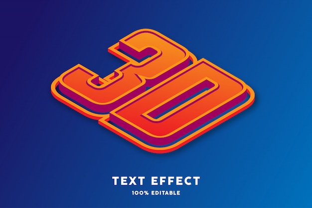 3d isometric text effect, editable text