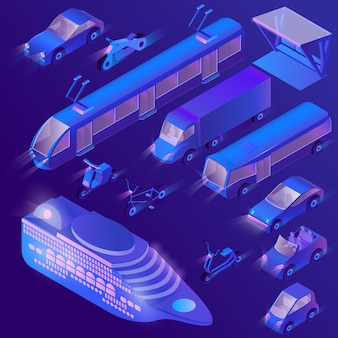 3d isometric ultra violet urban transportation
