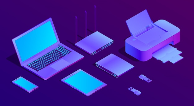 3d isometric ultraviolet laptop, printer