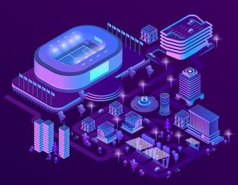 3d isometric ultraviolet megapolis with stadium