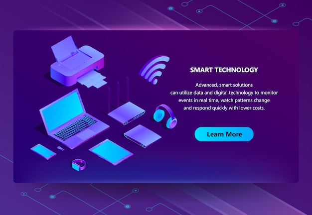 3d isometric ultraviolet web page template