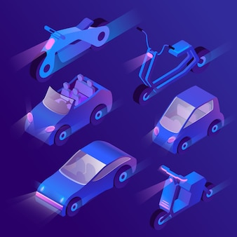 3d isometric urban transportation with headlights