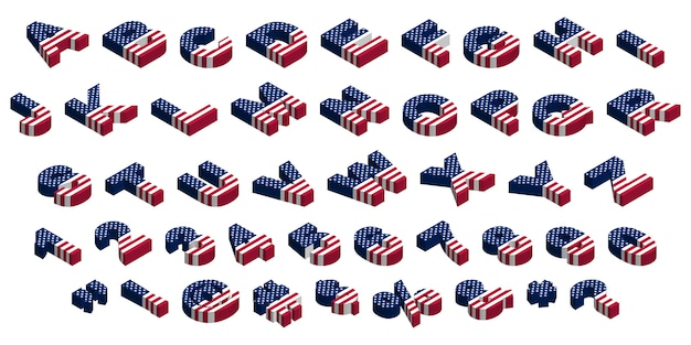3d isometric usa flag font, letters, numbers, symbols and signs, stock  illustration clip art