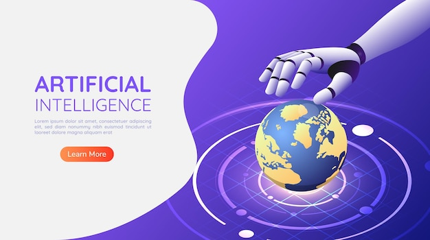 3d isometric web banner ai robotic hand control the world
