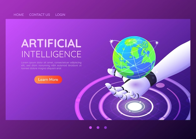 3d isometric web banner ai robotic hand holding virtual digital world. artificial intelligence and technology landing page concept.