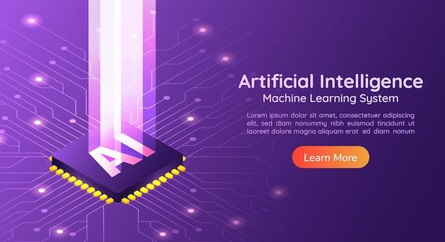 3d 아이소메트릭 웹 배너 컴퓨터 회로 기판에 빛 기둥이 있는 인공 지능 ai. ai 및 기계 학습 개념 소개 페이지.