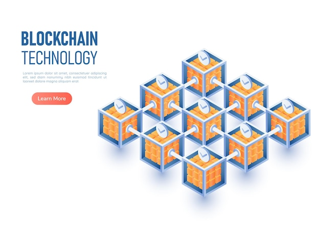 3d isometric web banner blockchain network connection. blockchain technology and cryptocurrency concept.