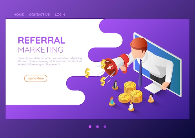3d isometric web banner businessman come out from monitor and shout through megaphone. referral marketing and digital business advertising landing page concept.