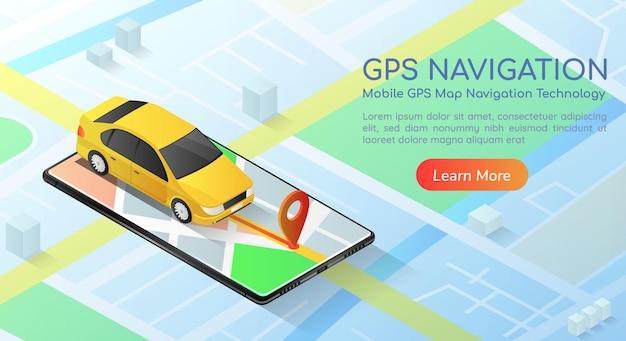 スマートフォンのgpsマップナビゲーションアプリケーションを備えた3dアイソメトリックwebバナーカー。モバイルgpsマップナビゲーション技術の概念のランディングページ。