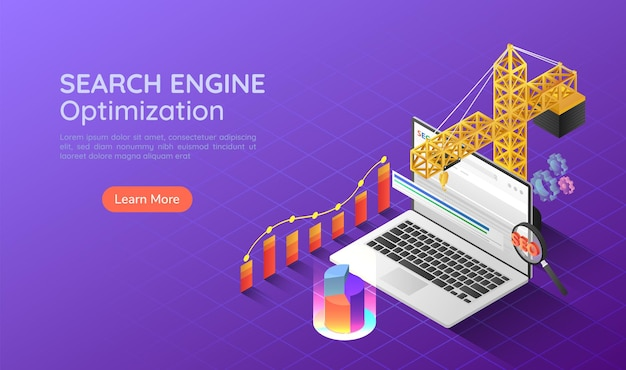 3d isometric web banner construction crane lifting up and increase website ranking to the top on search engine. search engine optimization seo landing page concept.