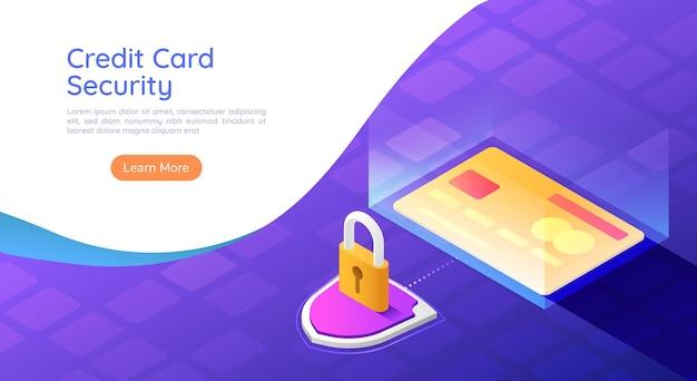 3d изометрическая веб-баннер кредитной карты с системой безопасности щит и замок. концепция безопасности оплаты кредитной картой.