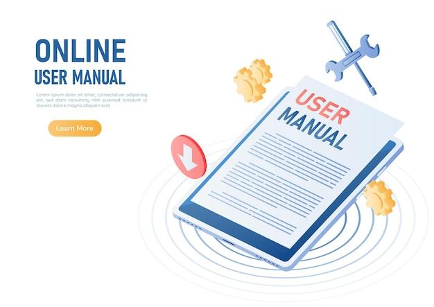 사용자 설명서 문서가 있는 3d 아이소메트릭 웹 배너 디지털 태블릿. 온라인 사용자 설명서 또는 지침서 개념.