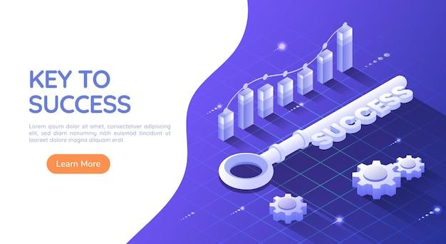 グラフとギアを使用して青い背景で成功するための3dアイソメトリックwebバナーの鍵。成功とビジネスソリューションの概念の鍵。