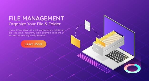3d 아이소메트릭 웹 배너 노트북은 파일을 전송하고 모니터에서 폴더를 구성합니다. 파일 전송 및 데이터 관리 개념 방문 페이지.