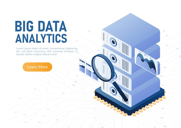 3d isometric web banner magnifying glass scanning database server on computer chip. big data analytics concept.
