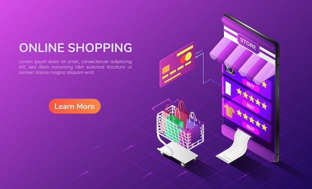 3d isometric web banner online shopping system in the smartphone with cart and credit card. online shopping concept landing page.