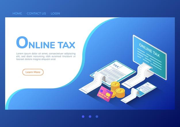 3d изометрические веб-баннер онлайн-уплата налогов на компьютер, смартфон и цифровой планшет. концепция целевой страницы службы онлайн-платежей.