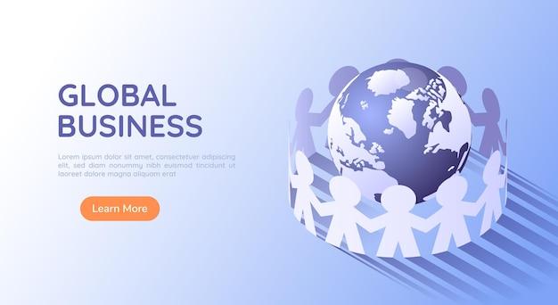 世界を取り巻く3dアイソメトリックwebバナーペーパーの人々。グローバルビジネスとチームワークの概念。