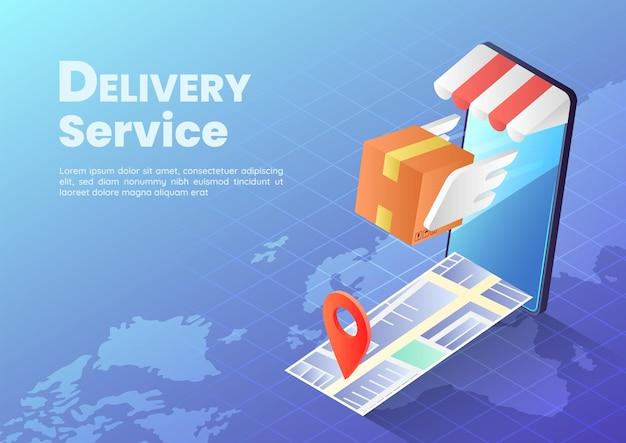 3d 아이소메트릭 웹 배너 소포 상자에는 날개가 지도 및 핀이 있는 스마트폰에서 빠르게 날아가고 있습니다. 빠른 배달 서비스 및 온라인 쇼핑 개념.