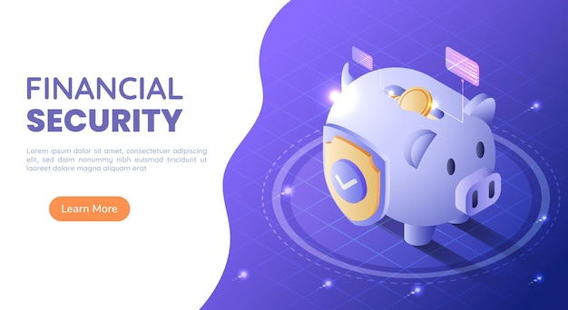3d isometric web banner piggy bank full of money with a shield on blue gradient background. financial security and money protection concept.