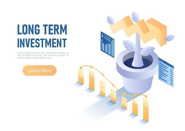 3d isometric web banner plant growing up like growth arrow graph. long term investment concept.