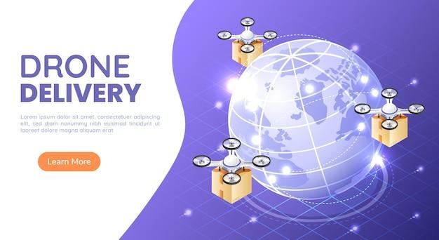 3d 아이소메트릭 웹 배너 쿼드콥터 또는 드론이 전 세계 배송을 위해 패키지를 날고 운반합니다. 드론 배송 및 배송 혁신 개념.