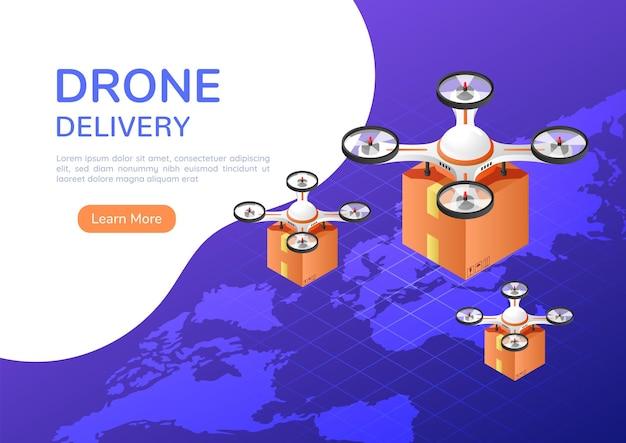 3d изометрический веб-баннер, квадрокоптер или дрон, летающий над картой мира, несущий посылку для доставки